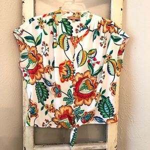 Ellen Tracy Tie Front Floral Blouse Size Medium
